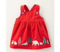 Trägerkleid aus Cord mit Winterfreunden Rotgold