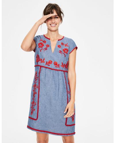 Bea Leinenkleid mit Stickereien Denim Damen