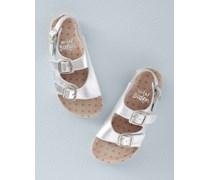 Sandalen aus Kork und Leder Silber Mädchen