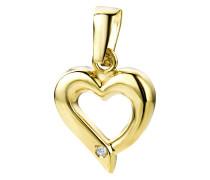 Kettenanhänger aus 375 Gold mit Diamant