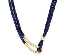 Halskette Silhouette aus vergoldetem Edelstahl & Stoff