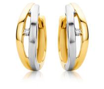 Creolen aus 375 Bicolor-Gold mit Diamanten