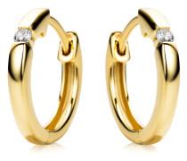 Creolen aus 375 Gold mit 0.06 Karat Diamanten   Stärke 2,2 mm