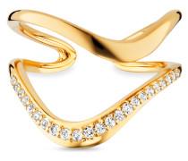 Ring Fluid Curves aus vergoldetem 925 Sterling Silber mit Topasen-52