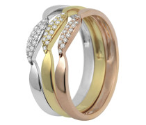 Ring aus 375 Tricolor Gold mit 0.15 Karat Diamanten-52