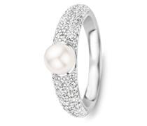 Ring aus 925 Sterling Silber mit Zirkonia & Swarovski-Perle-50