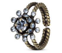 Ring Pool-Side Flower aus Metall mit Glassteinen