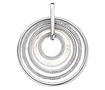 Kettenanhänger aus 925 Sterling Silber & Perlmutt mit Zirkonia