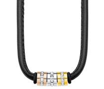 Halskette aus Leder & Edelstahl mit Swaroski-Steinen
