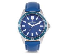 Quarzuhr blaue Quarzuhr mit Lederarmband 5412501
