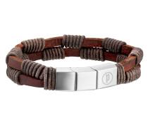 Armband Twin Row aus Leder & Edelstahl
