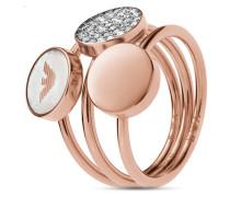 Ring aus Edelstahl & Perlmutt mit Kristallen-56