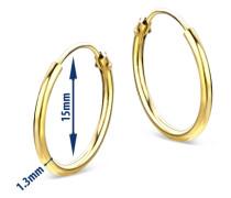 Creolen aus 585 Gold | Durchmesser 15 mm | Breite 1,3 mm