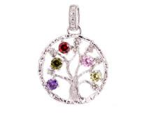 Kettenanhänger Lebensbaum 925 Sterling Silber-Zirkonia