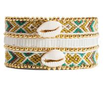 Armband Mia Twin aus vergoldetem Zink, Stoff & Kunststoff mit Muscheln-180 mm