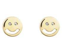 Ohrstecker Smileys aus vergoldetem 925 Sterling Silber mit Zirkonia