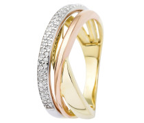Ring aus 375 Tricolor-Gold mit 0.2 Karat Diamanten-52