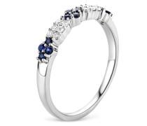 Ring aus 375 Weißgold mit 0.12 Karat Diamanten & Saphiren-52
