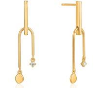 Ohrhänger Double Drop Stud 925er Silber Zirkonia
