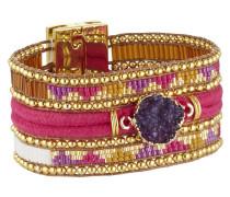 Armband Purplerain aus Metall, Kunststoff & Stoff