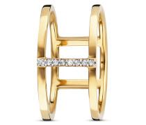 Ring Fine Line aus vergoldetem 925 Sterling Silber mit Topasen-50