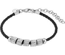 Armband aus Edelstahl und Lederimitat