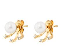 Ear Jackets Ohrstecker Pure White aus vergoldetem 925 Sterling Silber mit Süßwasser-Zuchtperlen & Topasen