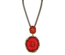 Halskette Samurai Bloom aus Metall mit Glassteinen