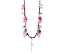 Halskette Layla aus Achaten, Kunstperlen, Muscheln & Federn