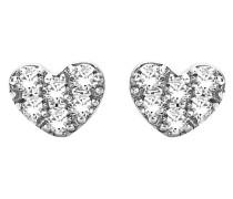 Ohrstecker Herz aus 375 Weißgold mit 0.06 Karat Diamanten
