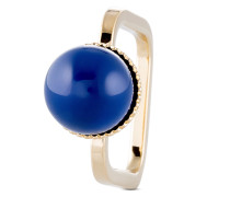 Ring eckig mit Swarovski Perle blau-52
