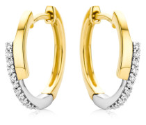Creolen aus 375 Bicolor-Gold mit Diamanten   Stärke 2,9 mm