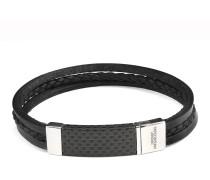 Armband Carbon Slide aus Leder, Edelstahl & Karbon-180 mm