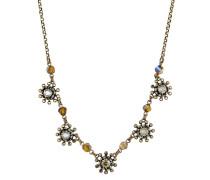 Halskette Pool-Side Flower aus Metall mit Glassteinen