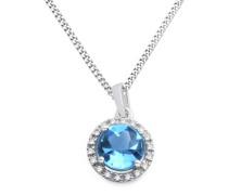 Halskette aus 375 Weißgold mit 0.053 Karat Diamanten & Blautopas