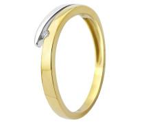 Ring aus 375 Bicolor-Gold mit Diamant