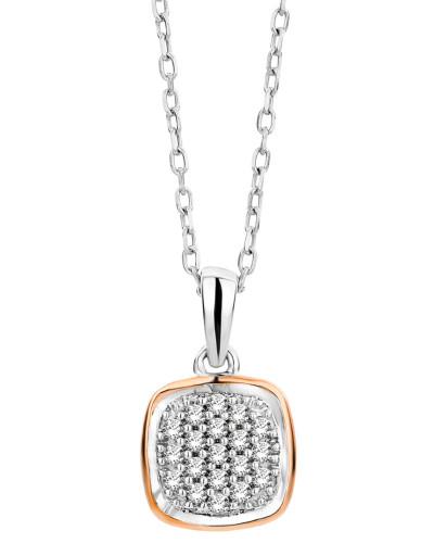 Halskette aus 375 Bicolor-Gold mit 0.10 Karat Diamanten