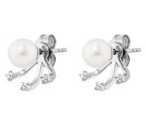 Ear Jackets Ohrstecker Pure White 925 Sterling Silber mit Süßwasser-Zuchtperlen & Topasen