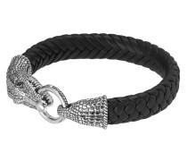 Armband aus Leder & 925 Sterling Silber mit Onyxen-210 mm