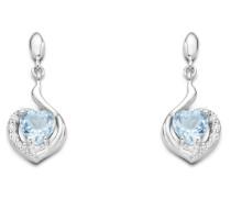 Ohrhänger aus 925 Sterling Silber mit Blautopasen & Zirkonia