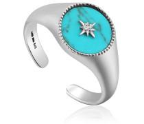 Damenring Turquoise Emblem Signet 925er Silber Türkis