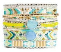 Armband Jonquille aus versilbertem Zink, Stoff & Kunststoff-180 mm