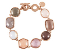 Armband rosévergoldet mit Achat, Aventurin, Jade & Rosenquarz