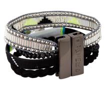 Armband Blackpeace aus Messing, Kunststoff & Stoff