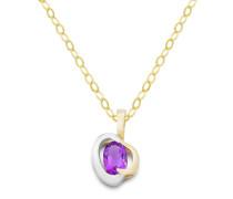 Halskette aus 375 Bicolor-Gold mit Amethyst