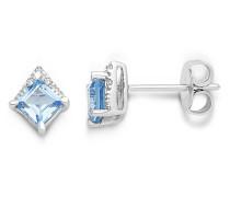 Ohrstecker aus 375 Weißgold mit Diamanten & Blautopasen