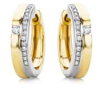 Creolen aus 375 Bicolor-Gold mit 0.14 Karat Diamanten | Stärke 3,79 mm
