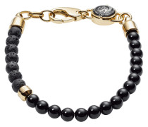 Armband Stackables aus Edelstahl mit Onyxen & Lavasteinen