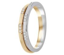 Ring aus 375 Bicolor-Gold mit 0.1 Karat Diamanten