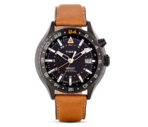 Quarzuhr Timex® 3-GMT mit Intelligent Quartz™ Technologie T2P427 braun
